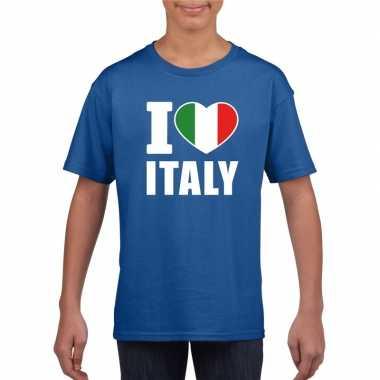 Blauw i love italie fan shirt kinderen
