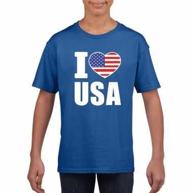 Blauw i love usa - amerika fan shirt kinderen