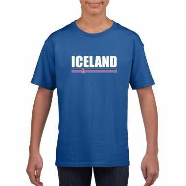 Blauw ijsland supporter t-shirt voor kinderen