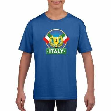 Blauw italie supporter kampioen shirt kinderen