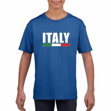 Blauw italie supporter t-shirt voor kinderen