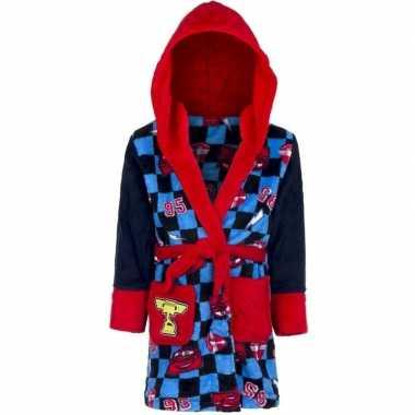 Blauw/rode cars badjas met capuchon voor jongens