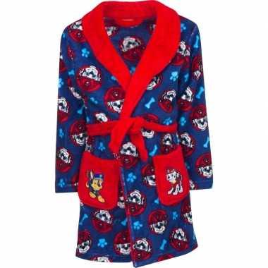 Blauw/rode paw patrol badjas met capuchon voor jongens