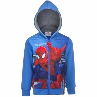 Blauw spiderman capuchon vest voor kinderen
