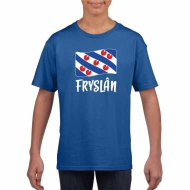 Blauw t-shirt fryslan / friesland vlag kinderen
