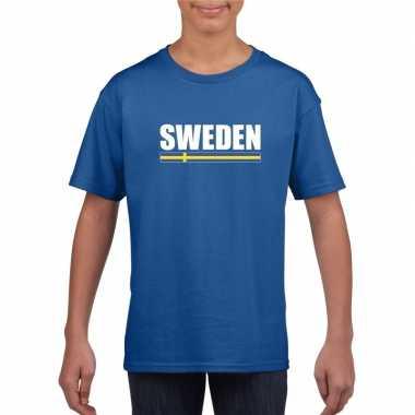 Blauw zweden supporter t-shirt voor kinderen