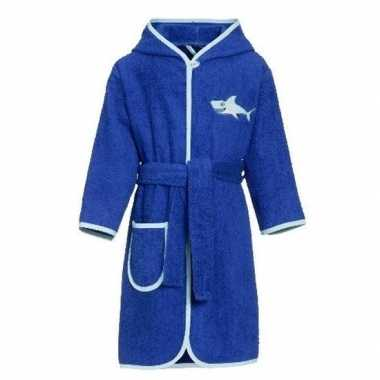 Blauwe badjas/ochtendjas haai borduursel voor kinderen