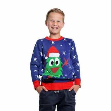 Blauwe kerst trui met kerstboom voor kinderen