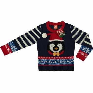Blauwe kersttrui pinguin voor kinderen
