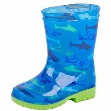 Blauwe kinder regenlaarzen met haaien