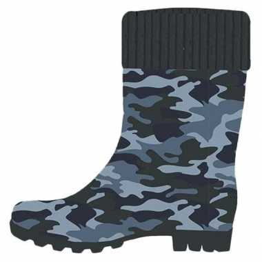 Blauwe kleuter/kinder regenlaarzen camouflage/leger print