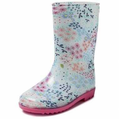 Blauwe kleuter/kinder regenlaarzen met gekleurde bloemetjes