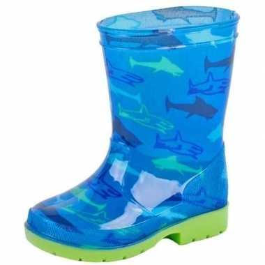 Blauwe kleuter/kinder regenlaarzen met haaien