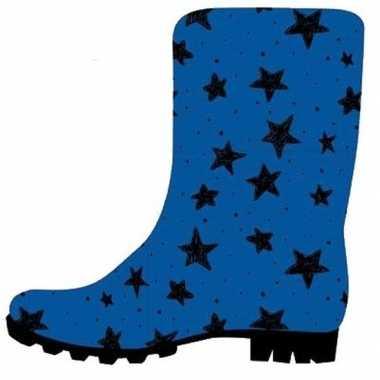 Blauwe kleuter/kinder regenlaarzen zwarte sterretjes print