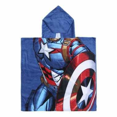 Blauwe marvel captain america badcape met capuchon voor jongens
