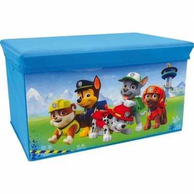 Blauwe paw patrol speelgoed opbergbox met zitvlak 55 cm