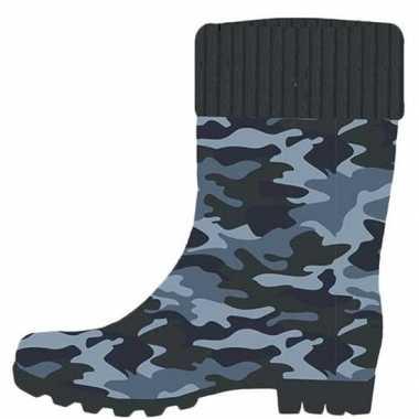 Blauwe peuter/kinder regenlaarzen camouflage/leger print