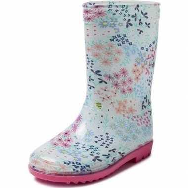 Blauwe peuter/kinder regenlaarzen met gekleurde bloemetjes