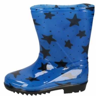 Blauwe peuter/kinder regenlaarzen zwarte sterretjes print