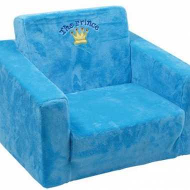 Blauwe prinsen stoel voor kinderen 40 cm