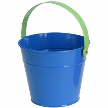 Blauwe stalen speelgoed emmer 16 cm voor kinderen