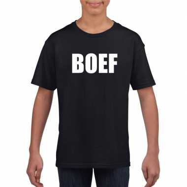 Boef tekst t-shirt zwart kinderen