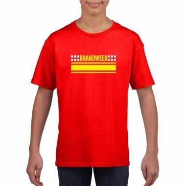 Brandweer logo t-shirt rood voor kinderen