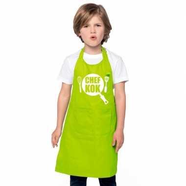 Chef kok keukenschort lime groen kinderen
