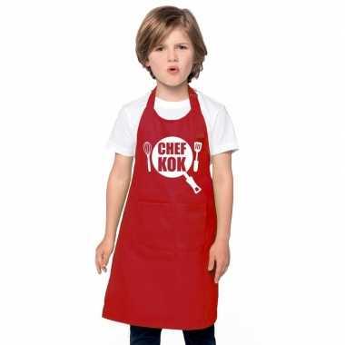 Chef kok keukenschort rood kinderen