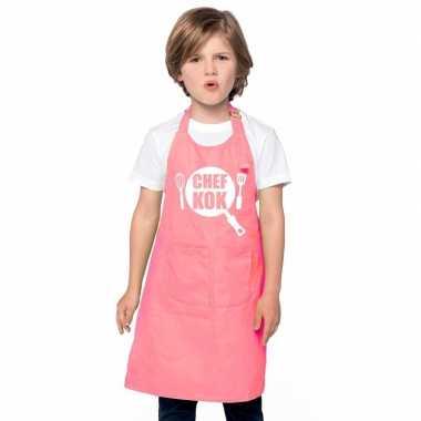 Chef kok keukenschort roze kinderen