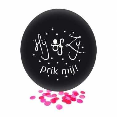 Confetti ballon gender reveal meisje party/feest zwart 60 cm