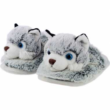 Dieren husky hond instap sloffen/pantoffels voor kinderen