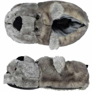 Dieren sloffen/pantoffels beer grijs voor kinderen