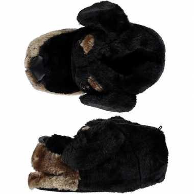 Dieren sloffen/pantoffels hond zwart voor kinderen