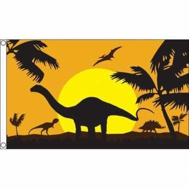 Dinosauriers dino thema vlag 90 x 150 cm