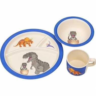Dinosaurus thema bamboe kinderservies set 3-delig