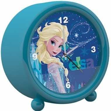 Disney frozen kinder wekker/klokje blauw 11,5 x 12 cm