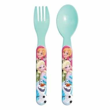 Disney frozen lichtblauw kinderbestek vork met lepel 14 cm
