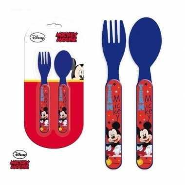 Disney mickey mouse kinderbestek vork met lepel 14 cm