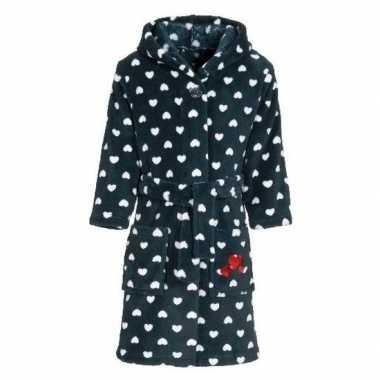 Donkerblauwe badjas/ochtendjas met hartjesprint voor kinderen