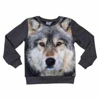 Donkergrijze sweater met wolf voor kinderen