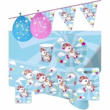 Eenhoorn thema kinderfeestje versiering pakket 9-16 personen