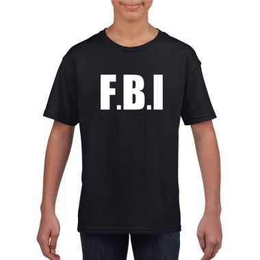 Fbi tekst t-shirt zwart kinderen