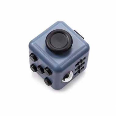 Fidget cube grijs zwart 4 cm