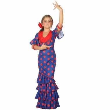 a9ceef83025020 Flamenco danseres kostuum blauw met rood