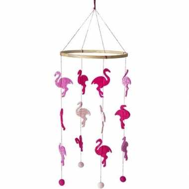 Flamingo thema baby mobiel/boxmobiel 45 cm kinderkamer decoratie