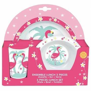 Flamingo thema plastic kinderservies set 3 delig bord kom beker