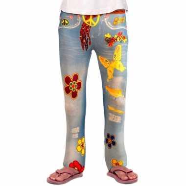 Flower power legging voor meiden