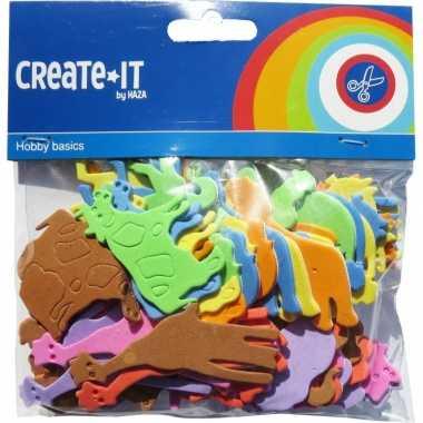 Foam dieren hobby knutsel materiaal voor kinderen 64 stuks