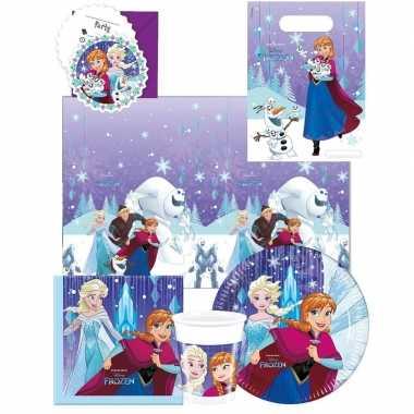 Frozen blauw/paars kinderfeest tafeldecoratie pakket 6 personen